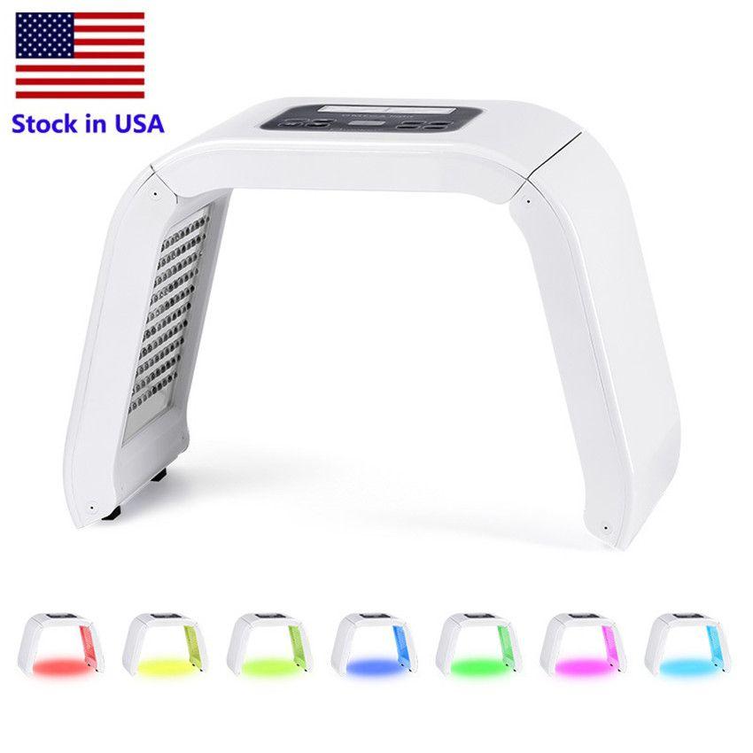 الأسهم في الولايات المتحدة الأمريكية 7 اللون PDT LED قناع الوجه PDT الخفيفة للبشرة العلاج آلة الجمال للوجه الجلد تجديد معدات صالون تجميل