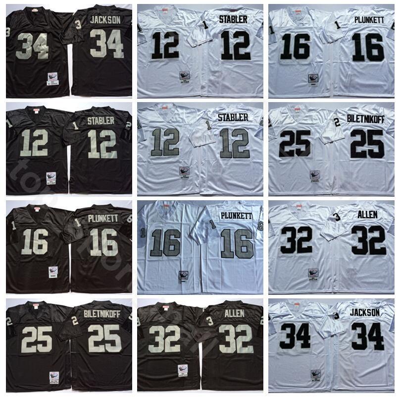 NCAA Futbol 34 Bo Jackson 16 Jim Plunkett 32 Marcus Allen Formalar 25 Fred Biletnikoff 12 Ken Stabler Lester Hayes Adam Vintage Siyah Beyaz
