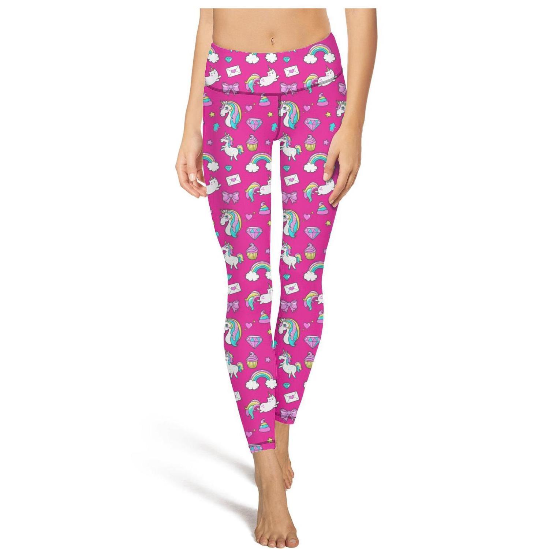 Tiere Partei Owl UnicornFashion Damen Individuelle Yoga Pants Elastizität beiläufige feste Geeignet für Fitness Einhorn rosa Einhorn Eis Von