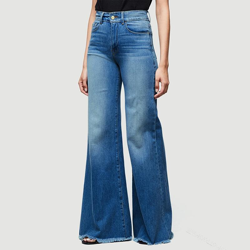 2019 Jeans da donna Casual Jeans elasticizzati in denim a vita alta Pantaloni svasati lunghi oversize Pantaloni blu chiaro Spedizione veloce