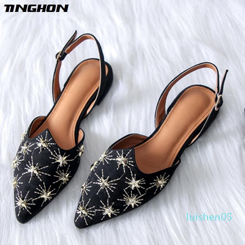 TINGHON Luxury Star Rivets Flats Shoes for Women Pointed Toe Vintage Slingbacks Buckle Strap Flats Mules Shoes l05