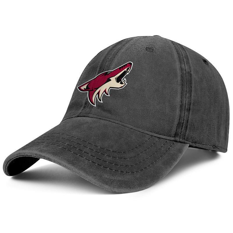 أريزونا ذؤبان الشعار الأساسي الرجال النساء مصمم خمر الدينيم قابل للتعديل غسل قبعة بيسبول قبعة رياضية NHL أبيض أحمر USA FLAG