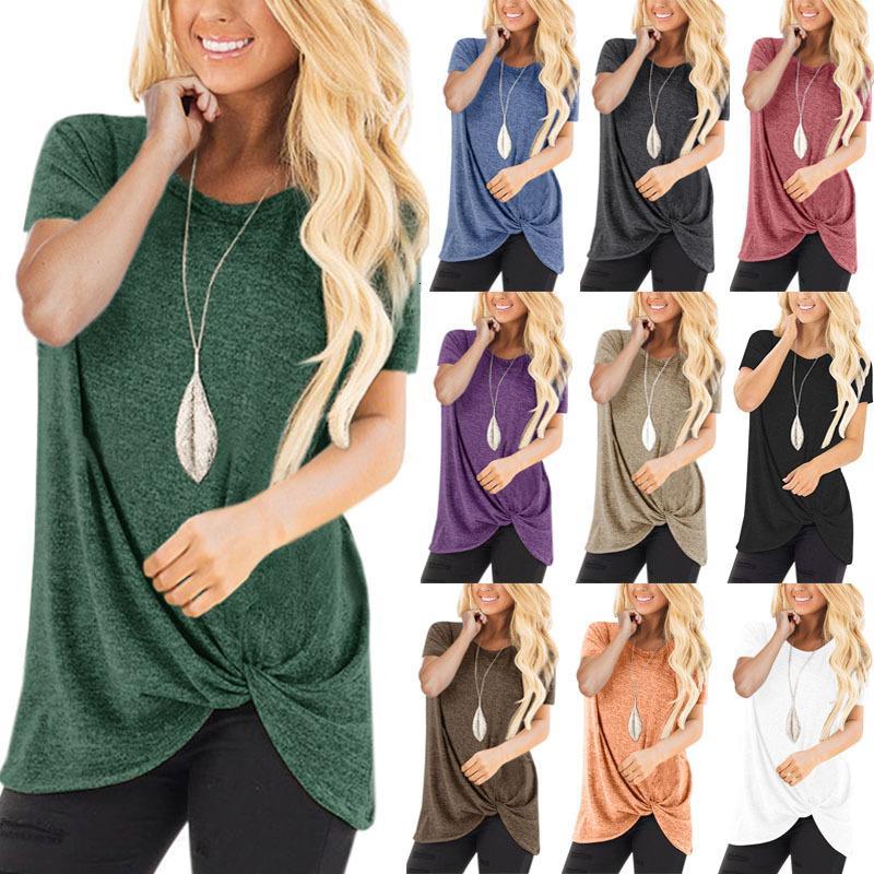 2019 Summer Collar manica corta Hem Kink Pure giacca camicia delle magliette delle donne di colore Tempo libero
