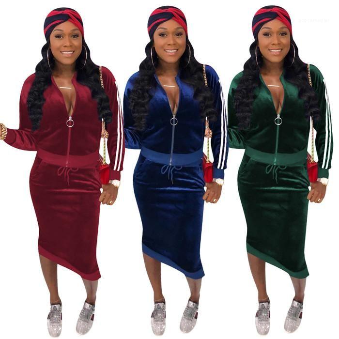 Bayan 2 adet Elbise Takım Elbise Bahar Tasarımcı Kontrast Renk Çizgili Setleri Bayanlar Uzun Kollu Tops Paketi HIPS Etekler Kadın Moda Rahat Suits