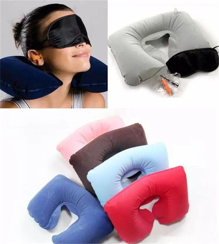 جديد 3 in1 مكتب السفر مجموعة نفخ الهواء على شكل U وسادة وسادة + النوم العين قناع Eyeshade + سدادات