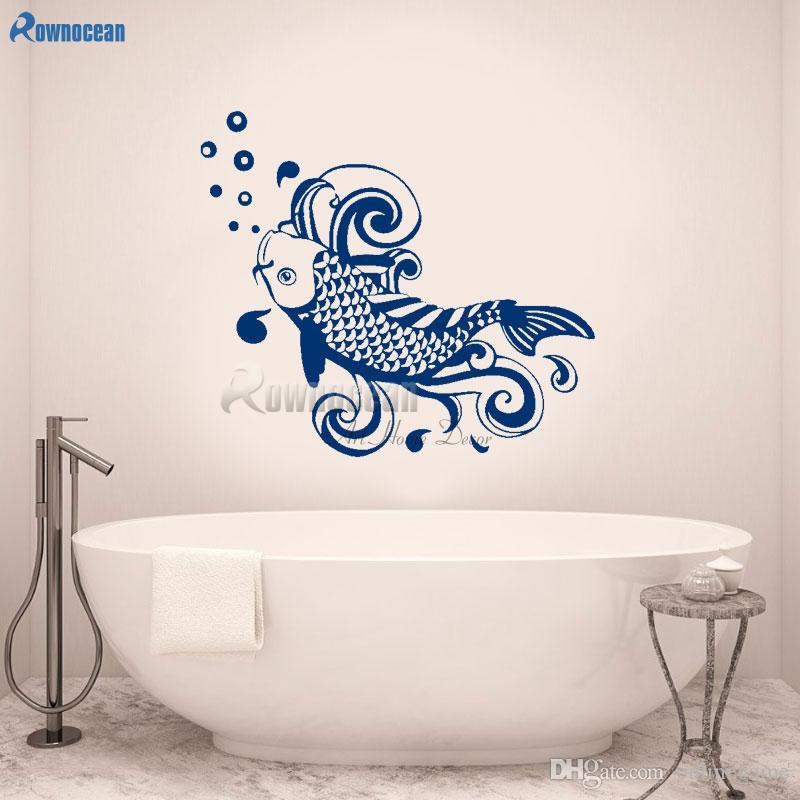 Kabarcıklar Duvar Çıkartmaları Banyo Ev Dekorasyon Denizcilik Wall Art Sticker Çıkarılabilir Çıkartmaları DIY Duvar Dekor ile Balık