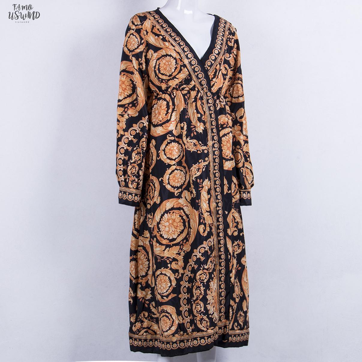 2020 Mais novo estilo moda elegante Mulheres Sexy profunda V Neck Floral Imprimir vestido de festa Formal Vestido Longo Tamanho S Xl