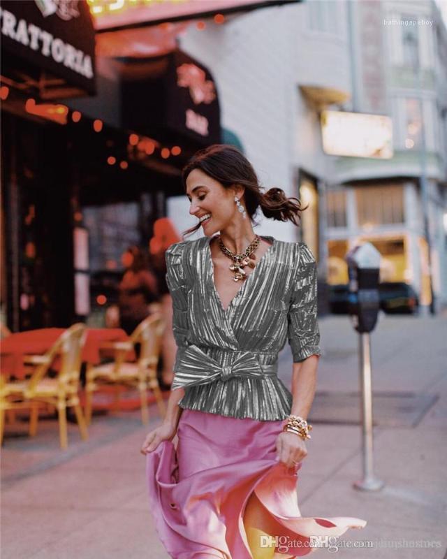 Blusa Sexy Feminino V Neck Painéis Shirts Fashion Designer Mulheres Blusa com arco Primavera Mulheres Striped