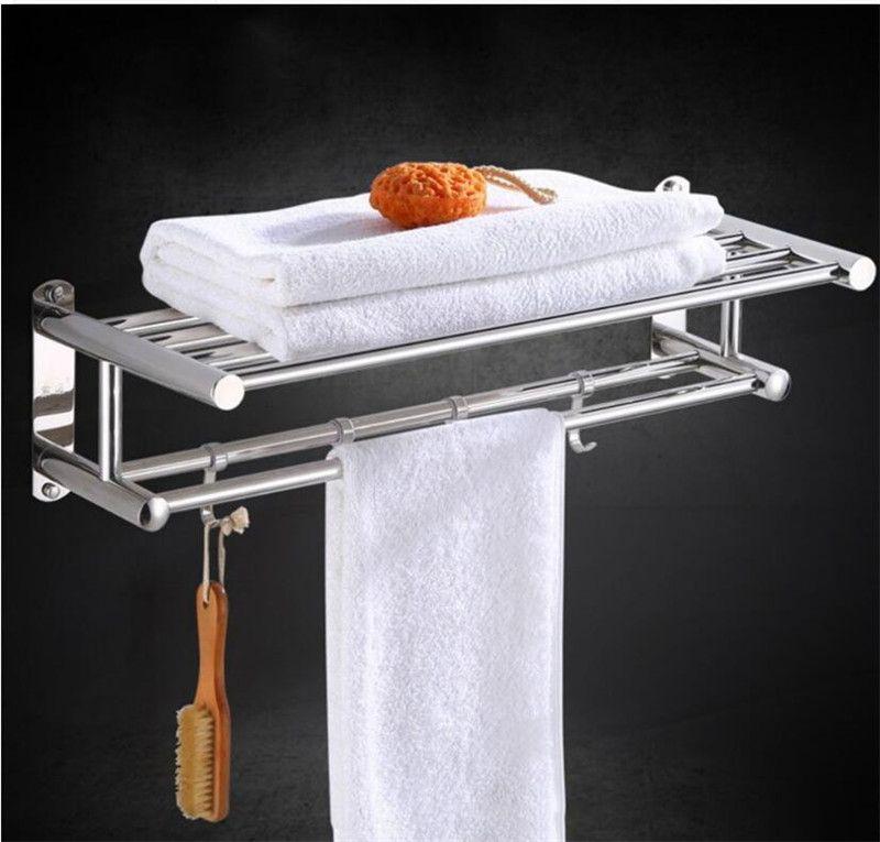 Hot Sale Stainless Steel Bathroom Towel Holder Racks Wall-mounted Towel Rack Bath Towel Clothes Organizer Storage Shelf With 4 Hooks