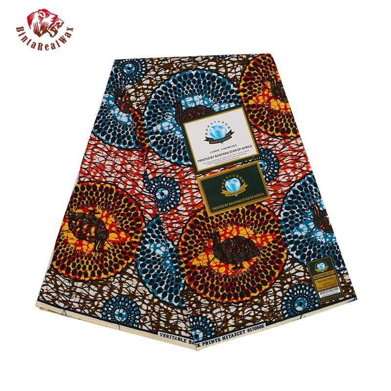 2019 Ankara Poliestere africano Cera Stampe Tessuto Binta Vera cera di alta qualità 6 yards tessuto africano per il vestito da partito PL561