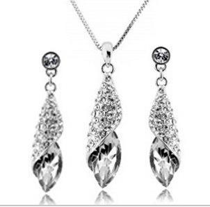 7 couleurs en option Dîner de mariage Bijoux Femmes Femmes Autriche Diamant Cristal Collier Boucles D'oreilles Ensemble Classique Swarovski Elements jm002