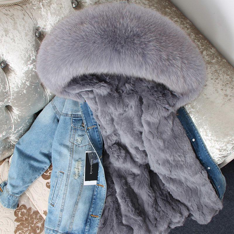 Natural raccoon big fur collar denim fur jacket quality rabbit fur lined warm jacket coat fashion women street clothing T191119
