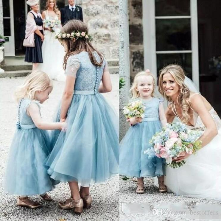 2020 Baby Blue Tulle Flower Girls Dresses Jewel Neck Short Sleeve Button Back Ankle Length Girls Pageant Dresses Boho Wedding Party BC2432