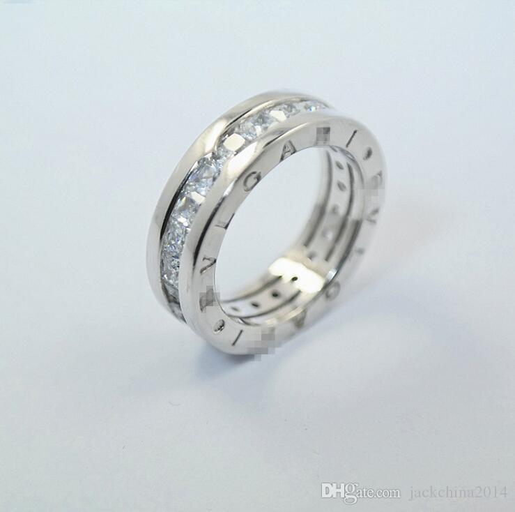 Jóias de luxo real 925 Sterling Silver Princesa Anel Cut branco Topaz CZ Eternity Diamond Letter Mulheres casamento banda anel para Gi amante