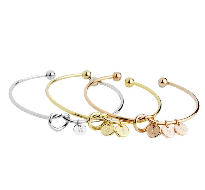 fashion Knot Bracelet with letters personalized initial heart bracelet Monogram Bridesmaid Gift Bracelet K2558