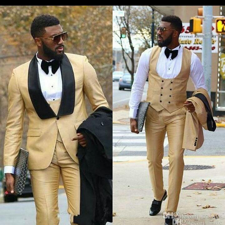 Erkekler Düğün Damat smokin Siyah Şal Yaka Slim Fit Groomsmen Blazer Klasik Kesim Terno Masculino 3 Adet Ceket Pantolon Yelek için Sarı Suit