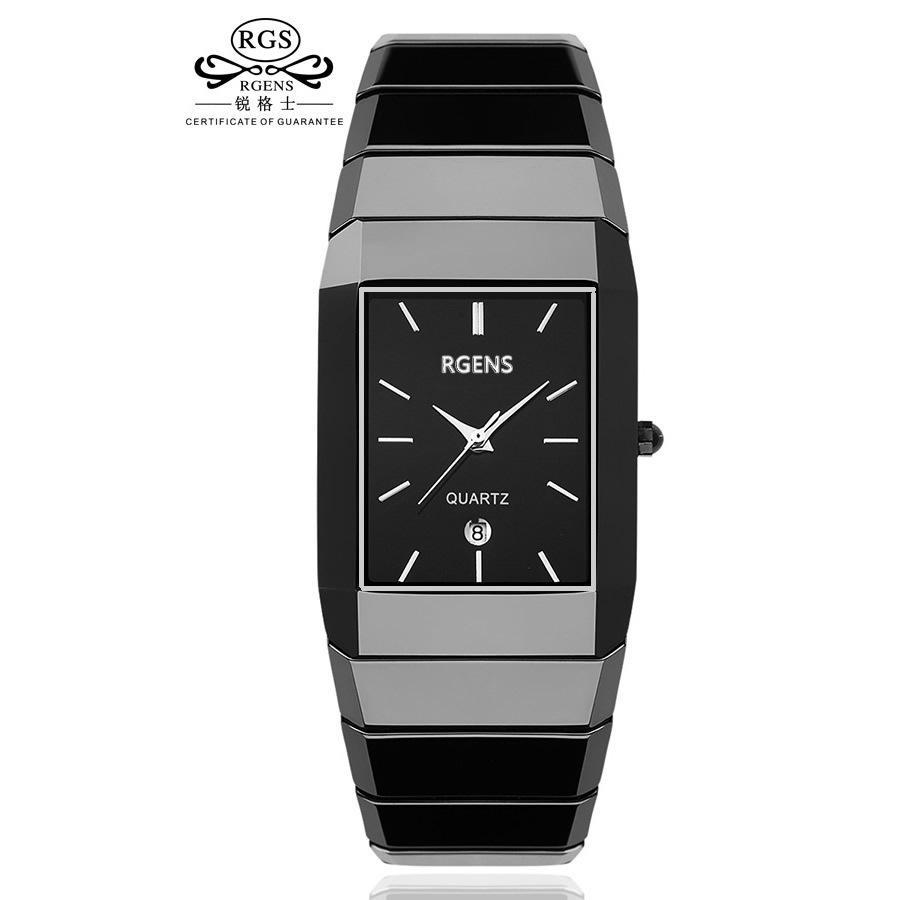 Rgens Original Véritable En Céramique Montre-Bracelet Hommes Noir Quartz Carré Homme d'affaires Horloges Étanche Casual Mode Montres Y19051703