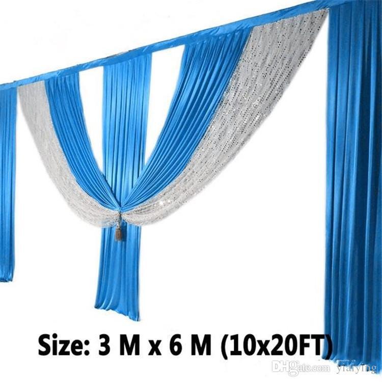 3M * 6m de largura Swags estilista casamento projeta cenário Partido cortina cortinas fundo da celebração Stage Desempenho cetim drapeja draps parede