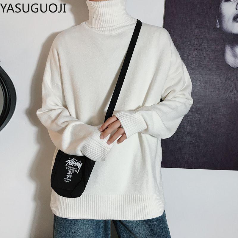 YASUGUOJI Новые 2020 Весна Мужчины трикотажные свитера Soilid Цвет Мужчины свитер Повседневный Сыпучие Пуловеры Одежда
