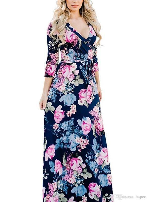 أنثى اللباس المرأة V كم طويل الرقبة مع الزنانير فساتين السيدات عارضة عطلات مثير الملابس الربيع طباعة الزهور