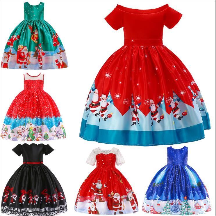 Girls Dresses Christmas Gown Dress Big Kids Long Maxi Princess Dress Party Fancy Dresses Cartoon Print Santa Snowflake Dresses Costume B6397