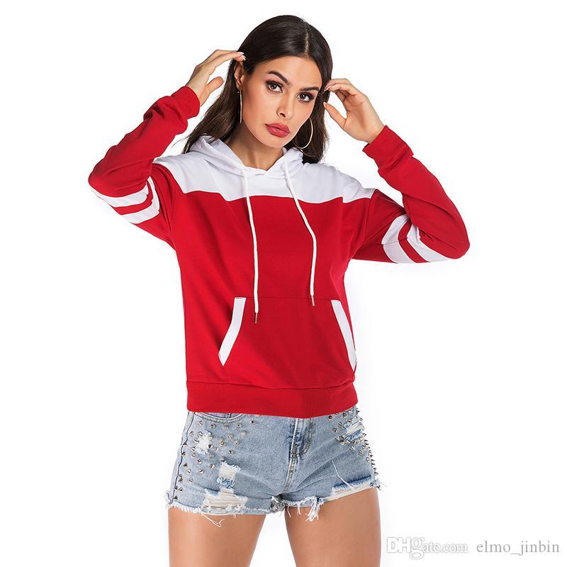2019 Outono Mulheres Com Capuz Manga Longa Casuais Com Capuz Pullover Camisolas Com Capuz Feminino Jumper Mulheres Treino Sportswear YY6123