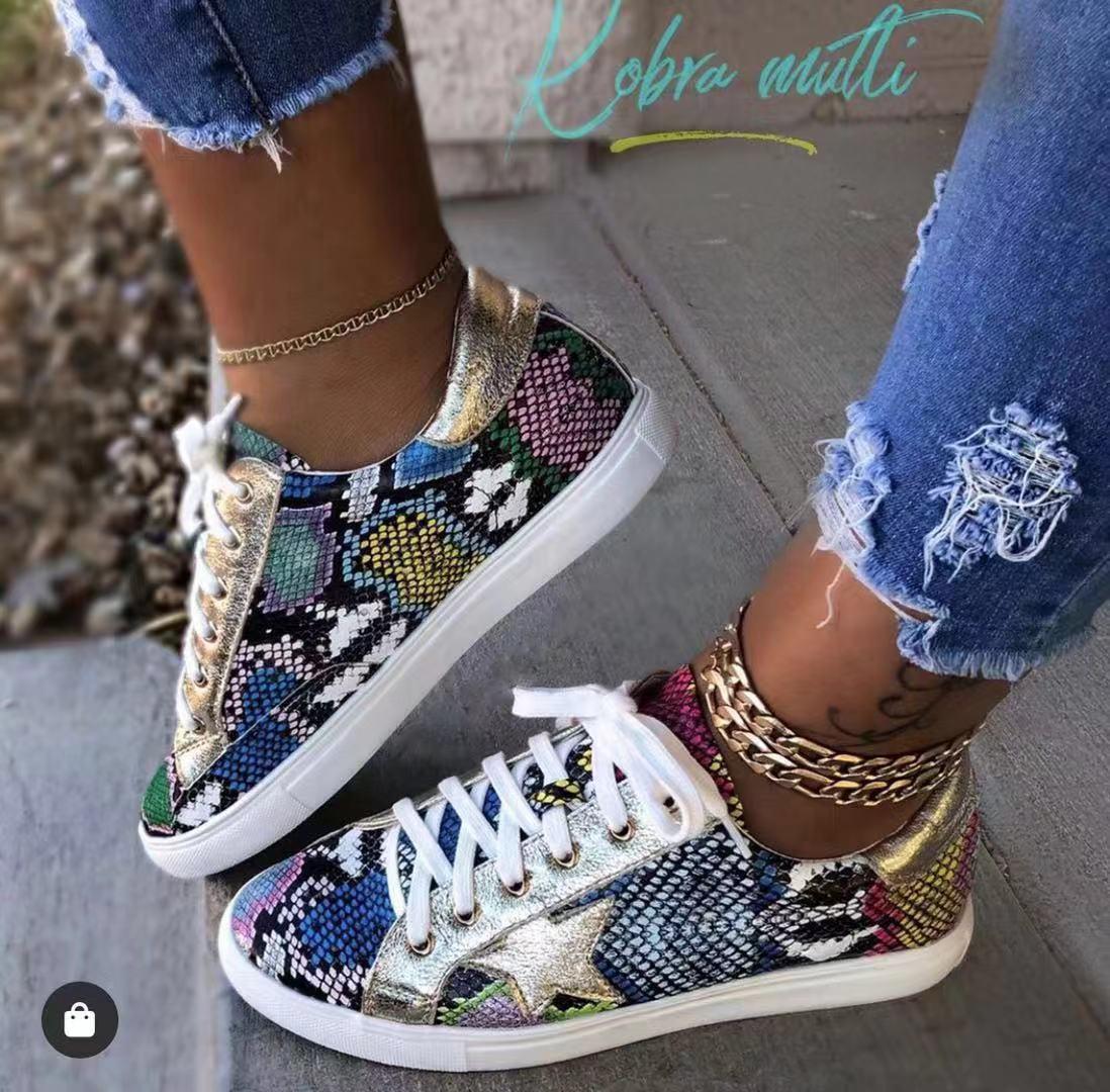 Kadınlar Yılan Baskı Dantel Sneakers Kadın PU Deri Ayakkabı Vulkanize kadar Moda 2019 Platformu Kadın Ayakkabı ayakkabı Yürüyüş