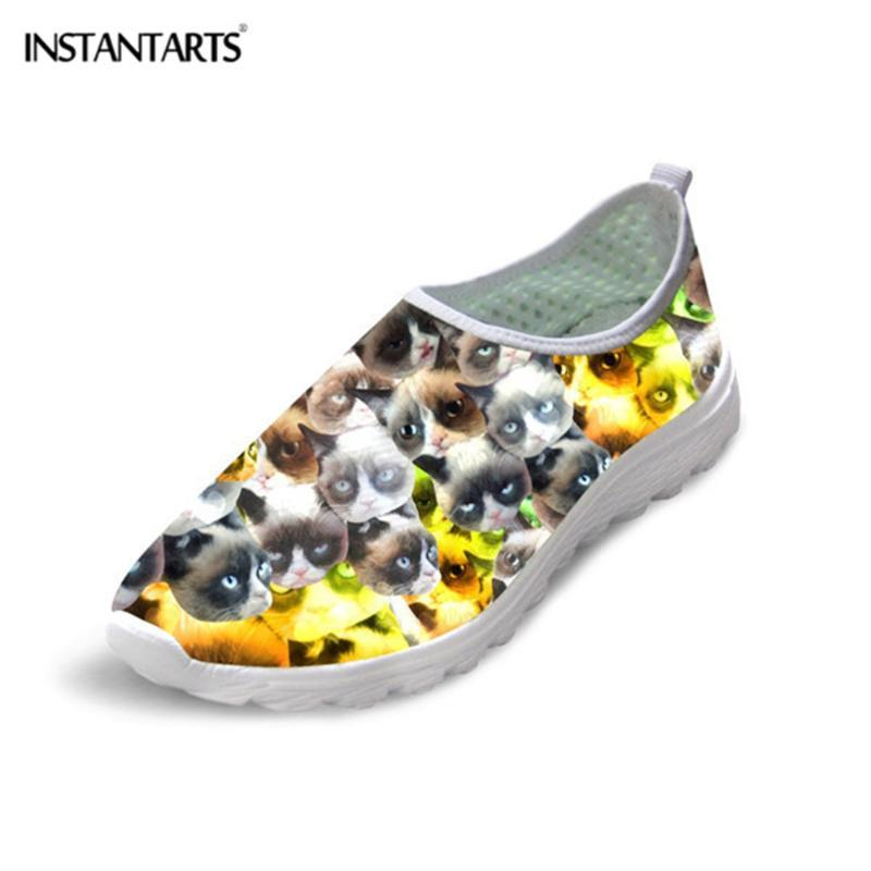 Nette INSTANTARTS Tier Katze Puzzle-Muster beiläufige Frauen-Ebene-Schuh-Mode-Breathable Ineinander greifen Loafers für weibliche Strand-Turnschuhe