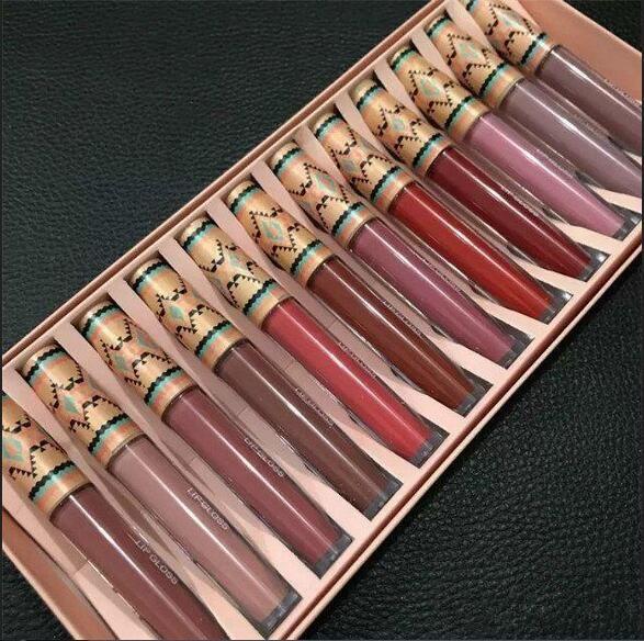 2018 Nova Matte Lipstick Líquido Vibe Tribe Lip Gloss 12PCS Set Makeup creme Lip Hidratante de longa duração 12 cores gratuitos