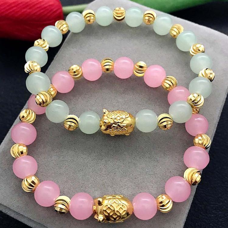 all'ingrosso Bracciale HY001 maiale naturale Rosa Verde doppio colore Perle zodic animale Nuovo braccialetto di modo delle donne
