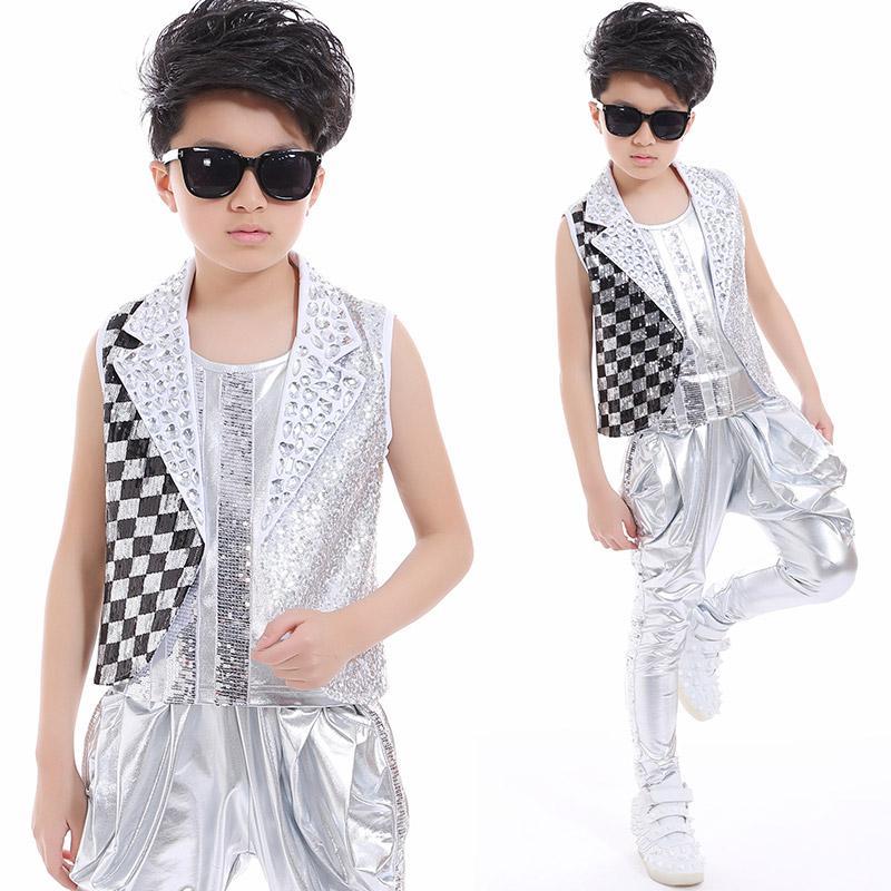 2020 Hip Hop Dance Costume Boys Jazz Silver Sequin Outfit Vest Jacket Pants Kids Dancing Performance Child Modern Clothes Dnv10049 From Keviny 30 16 Dhgate Com