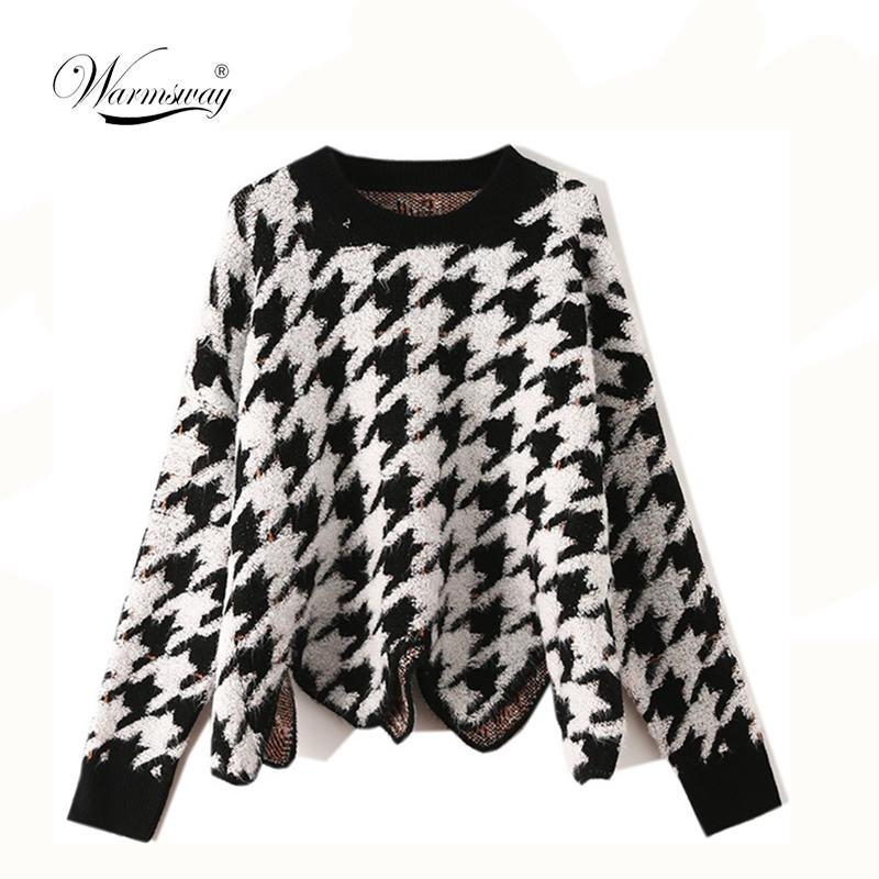 Fashion Herbst-Winter-Hahnentrittmuster Pullover Frauen Pullover Unregelmäßige beiläufige lose Weinlese-koreanische weibliche Top gestrickte Kleidung CY-001