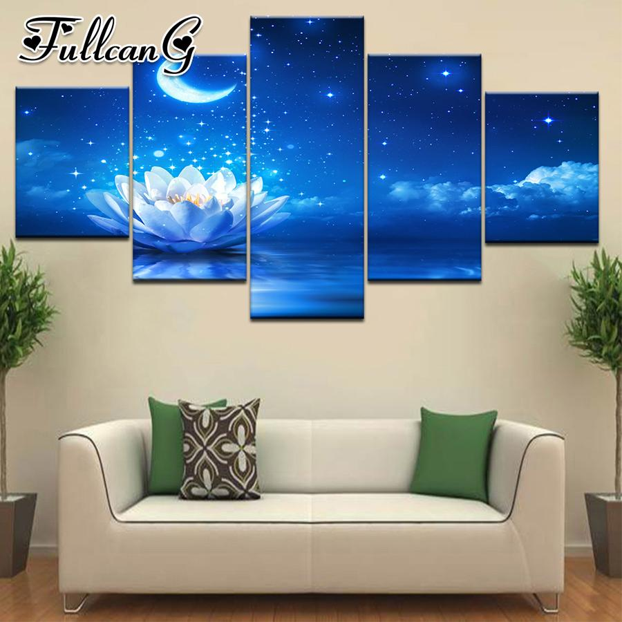 wholesale 5 piece diy diamond painting moon & lotus full square/round drill 5d mosaic embroidery multi-picture home decor FC699