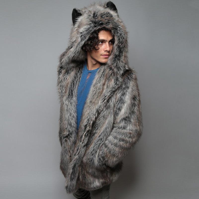 Faux Fur Coat Uomini 2020 casuale con cappuccio Furry spessore caldo lungo Faux Fur casacca inverno Cappotto Cardigan spessa giacca