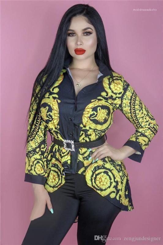 Progettista delle camice estate risvolto collo maniche lunghe abbigliamento femminile di stile di modo casuale abbigliamento stampa floreale Womens