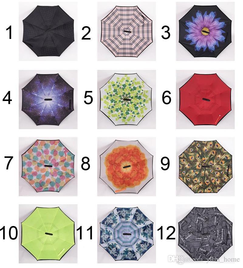 C-hand 우산 리버스 더블 레이어 반전 된 Umbrallas 내부 자기 스탠드 Windproof Umbrellas 29 colors available
