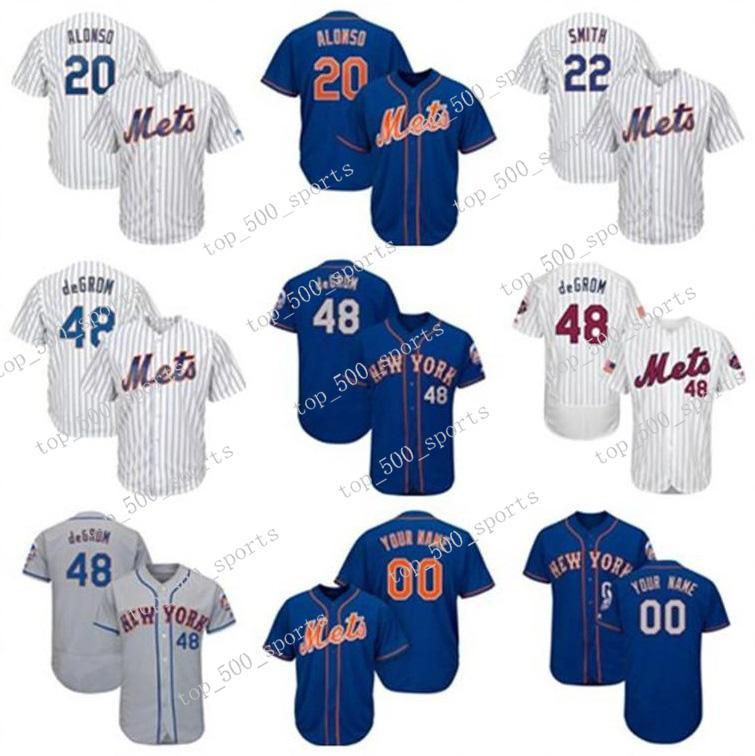 Mens Knit Jersey 20 Pete Alonso 48 Brad Brach Dominic Smith Jed Lowrie 야구 맞춤 플레이어 유니폼