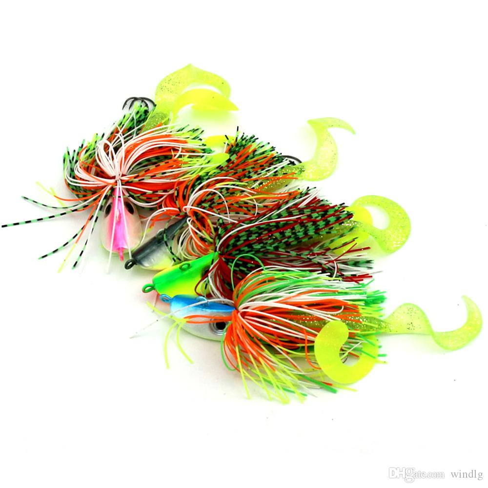 HENGJIA Multi-colors 40G Lead Octopus Head Jigs Fishing Lure Baits Rubber Skirts and Soft Lure Tail with 3D Simulation Eyes