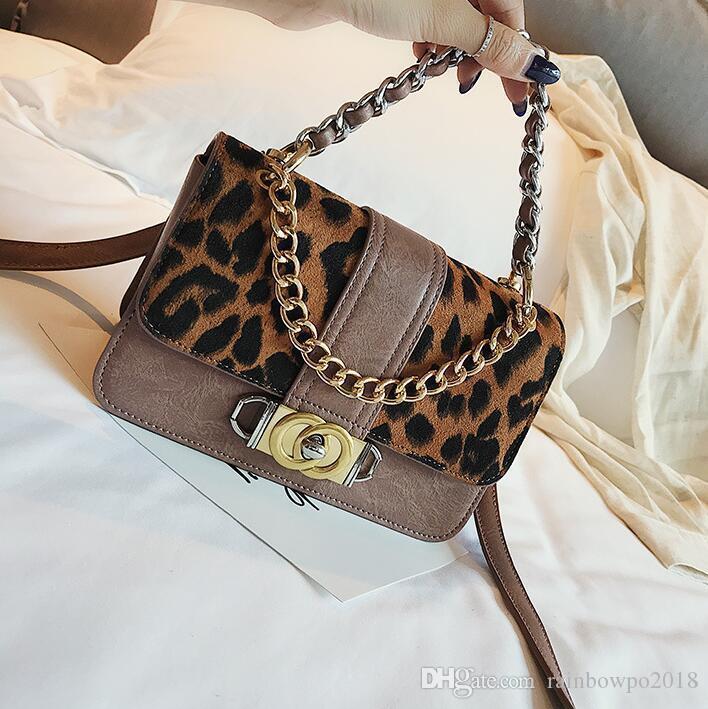 Factory wholesale women handbag street trend Leopard chain bag retro lock women shoulder bag elegant atmosphere Leopard contrast women bag
