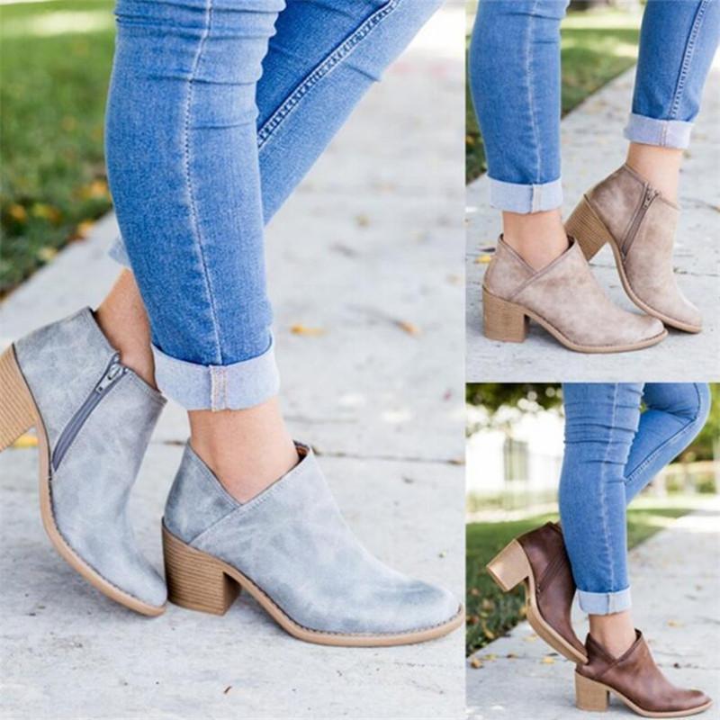 2019 шикарные летние женские туфли ретро сапоги на высоком каблуке женские блочные средние каблуки повседневная обувь Botas Mujer Feminina плюс размер 43