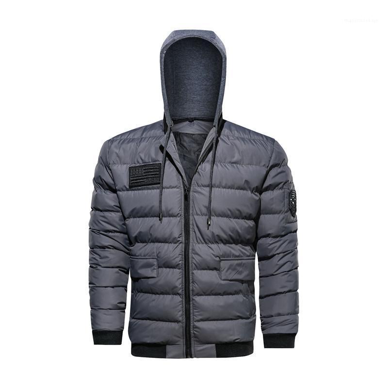 Solid Color Cotton Herren-Jacken beiläufige Thick Male Kampf Jacken mit Reißverschluss Designer Winter-Herren Jacken Plus Size Langarm-Kapuzen