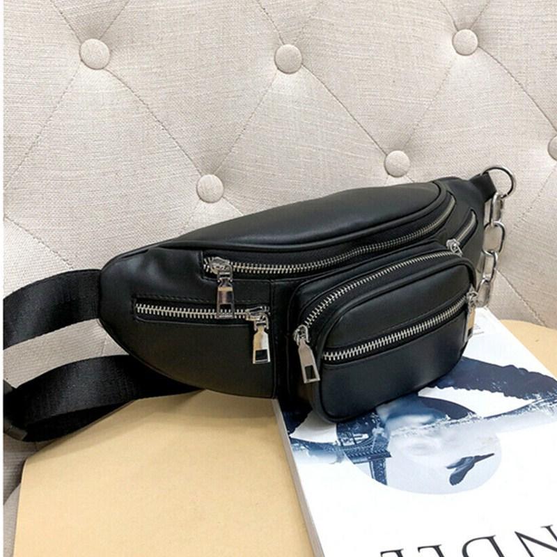 2019 Новые сумки Стиль Мужчины Женщины PU цепи талии Черный насыщенный Fanny Pack Travel Belt Кошелек плеча сумки Tote талии сумка