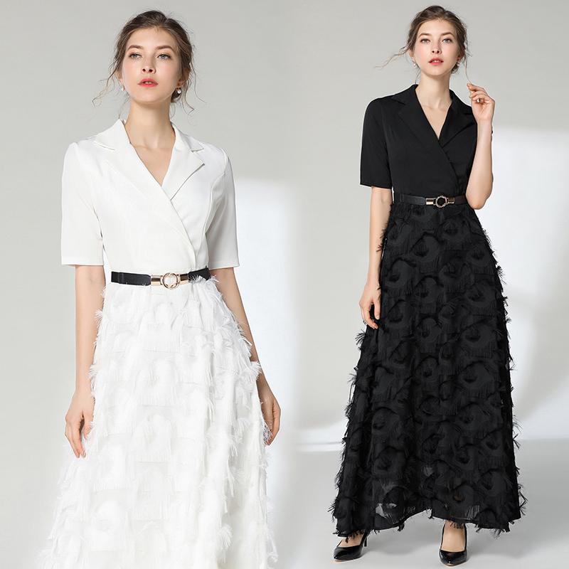 Meilleure Qualité Série # Long Maxi Dress Patchwork Glands Slim Manches Courtes Travail Bureau Dames Party Prom Mode Femmes Robes 6900