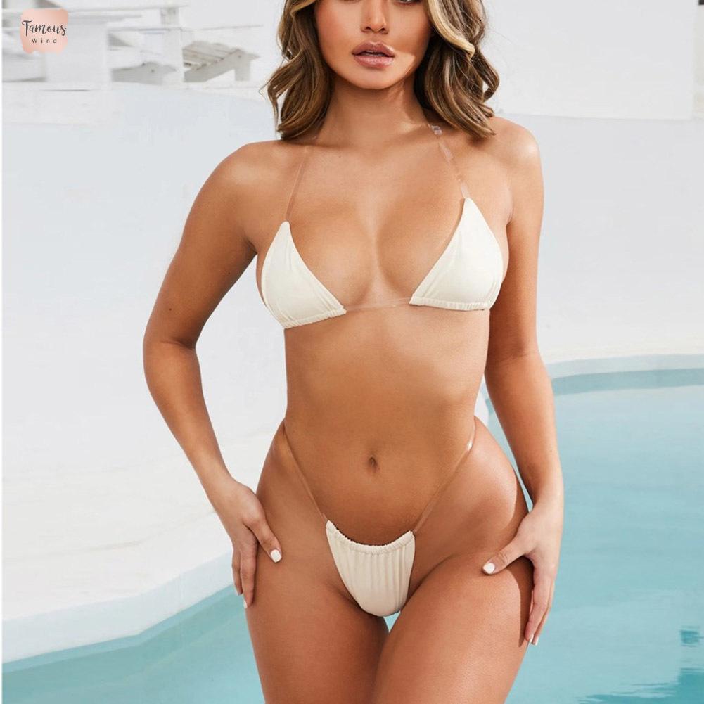 Correa Bikini de 2019 mujeres de baño empuja hacia arriba el acolchado Mini verano transparente atractiva empuja hacia arriba el traje de baño traje de baño de Monokini