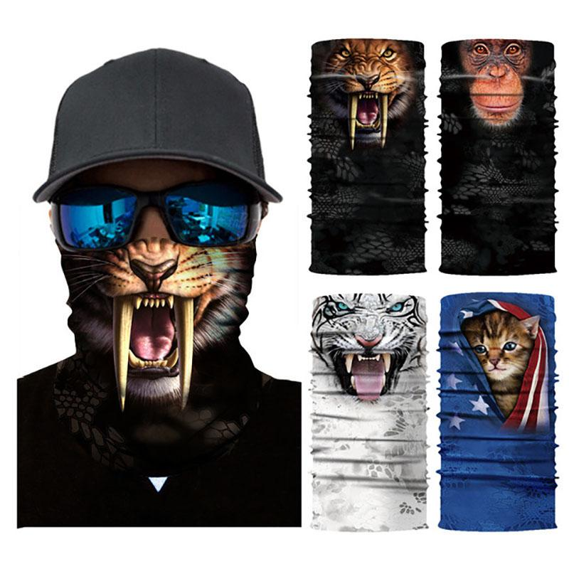 Randonnée à vélo écharpe magique Masque Bandeau Masques Animaux 3D Impression capot extérieur hiver couverture rapide crème solaire Masques visage sec