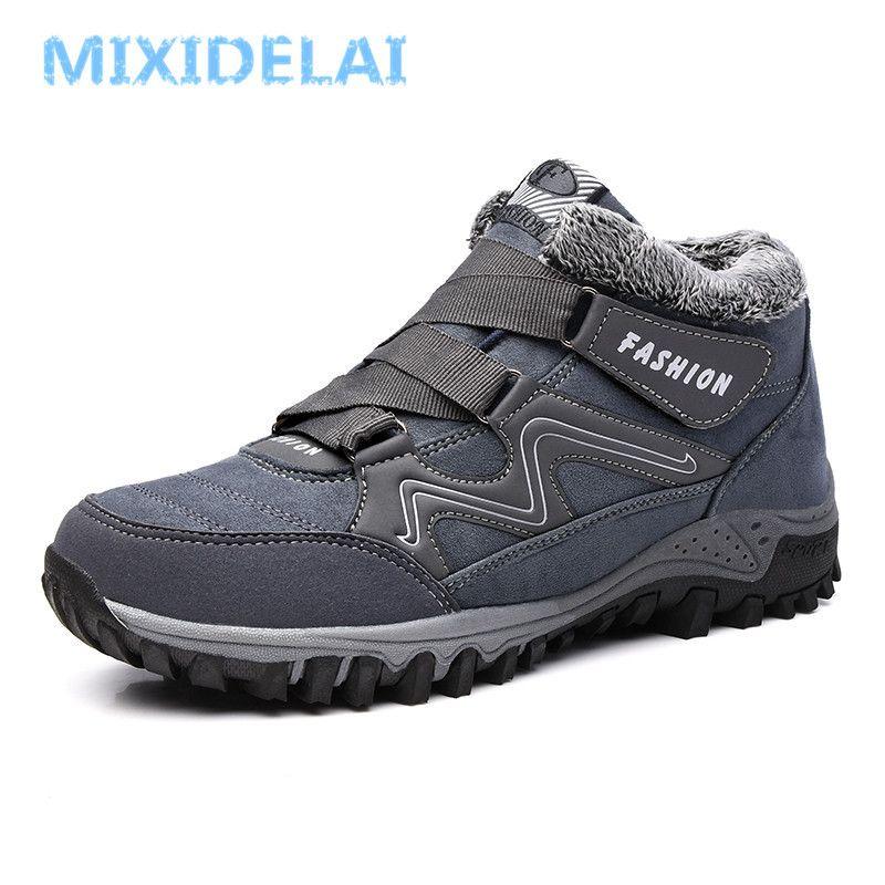 MIXIDELAI С Плюшевые теплый снег Повседневная обувь Зимняя мужская работа Обувь Мода Ботильоны 39-44 LY191217