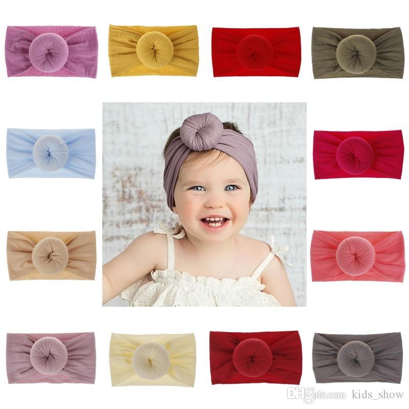 Bebek Naylon Kafa bantları Düz Renk Türban Süper Yumuşak Top Düğüm Saç bandı Bandı Headwraps Yürüyor Saç Aksesuarı