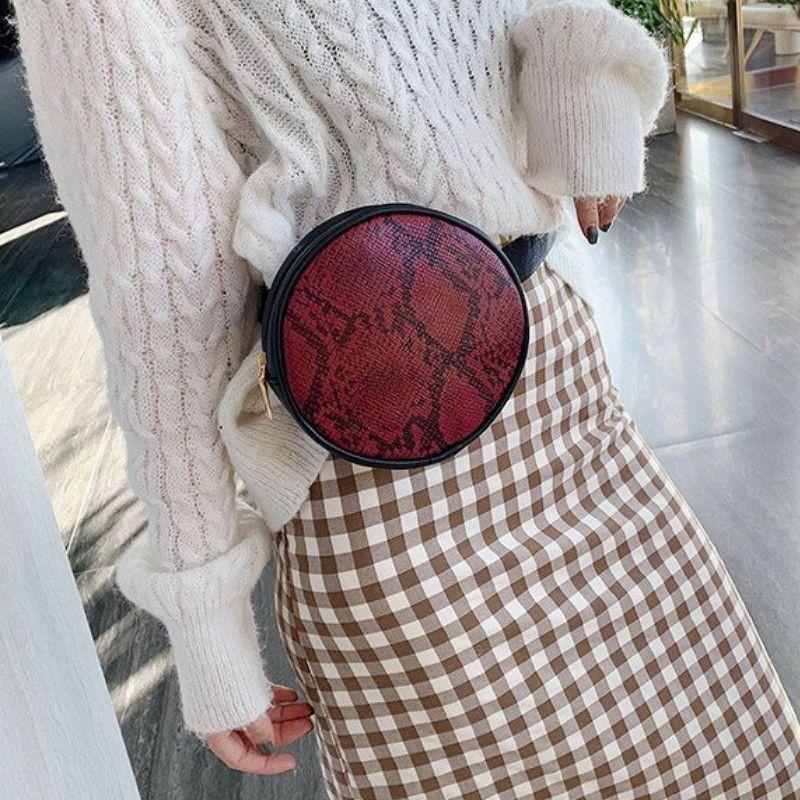 Mode Serpent Motif de peau sac de taille Faux cuir ronde Sac à bandoulière pour les femmes Paquet de Fanny Bum