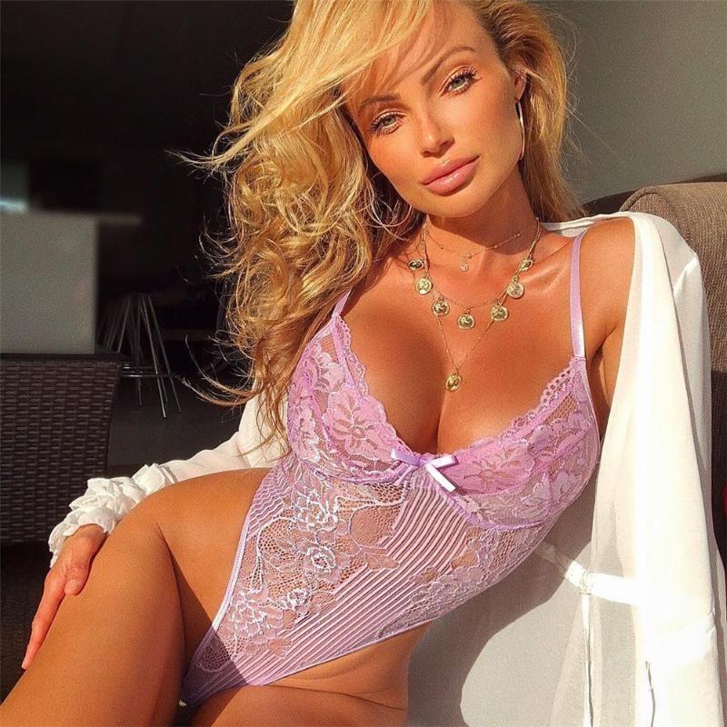 Lingerie dentelle transparente Bodysuit femmes Transparent Mesh Bow Sexy Underwear 2020 érotique Corset de nuit Straps une seule pièce Pyjama