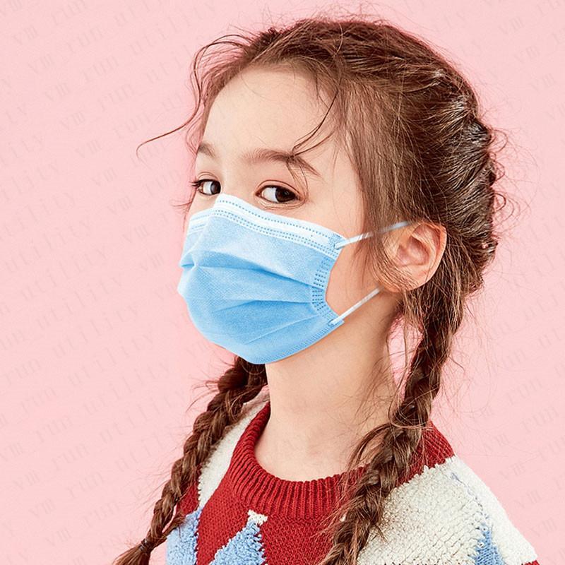 Auf Lager! Für Kinder 3-Schicht-Filter Einweg Safety Mundmasken Anti-spucken Kinder Schutz bequeme Abnutzung atmungsaktive Maske